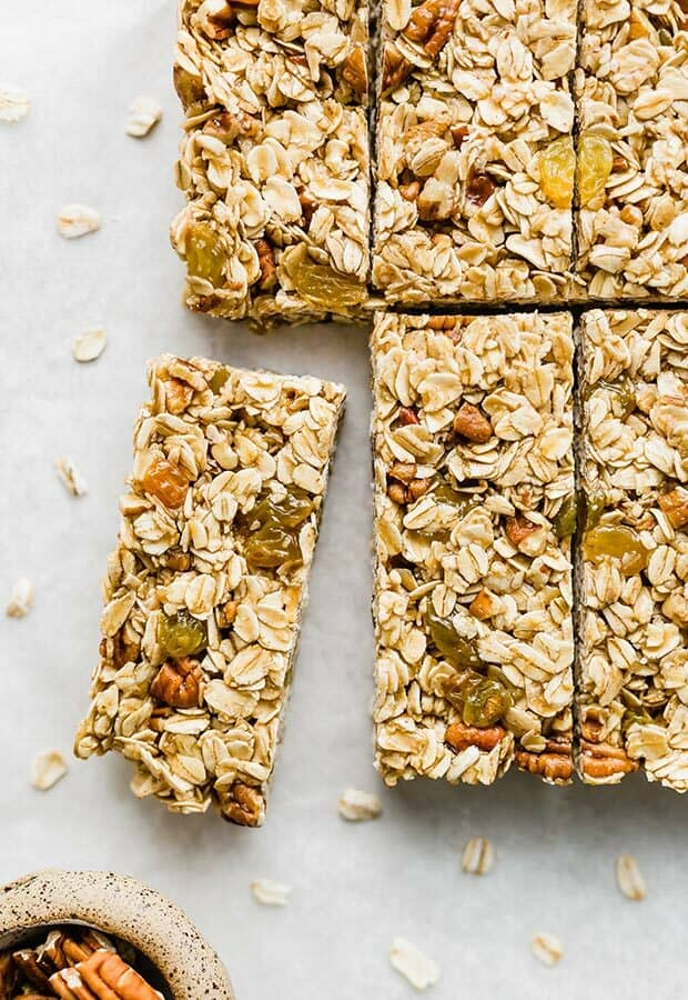 A row of homemade granola bars.