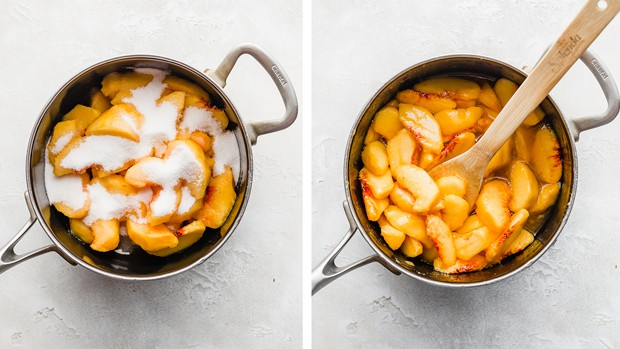 A sauce pan full of fresh peaches, topped with granulated sugar for making an easy peach cobbler recipe.