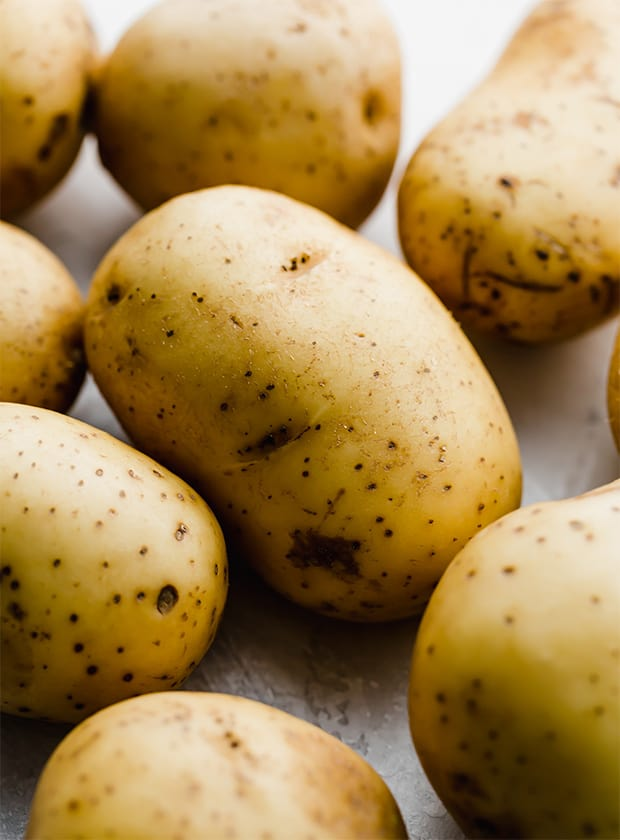 A close up photo of Yukon gold potatoes for making homemade mashed potatoes.