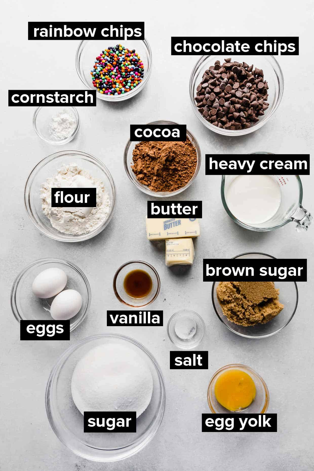 Ingredients used to make cosmic brownies on a white background.