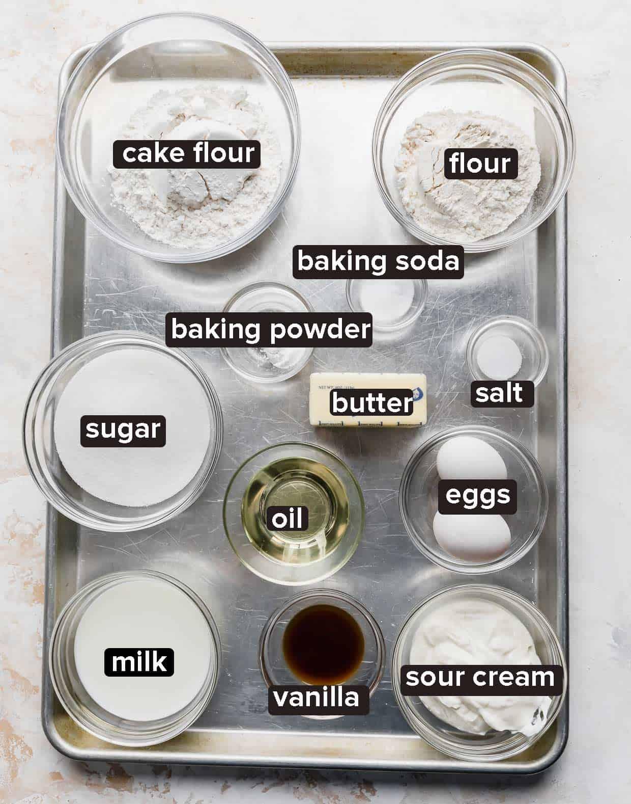 Smash Cake Recipe ingredients on a silver baking sheet.