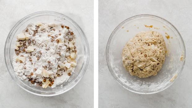Apple cinnamon scones dough in a glass bowl.