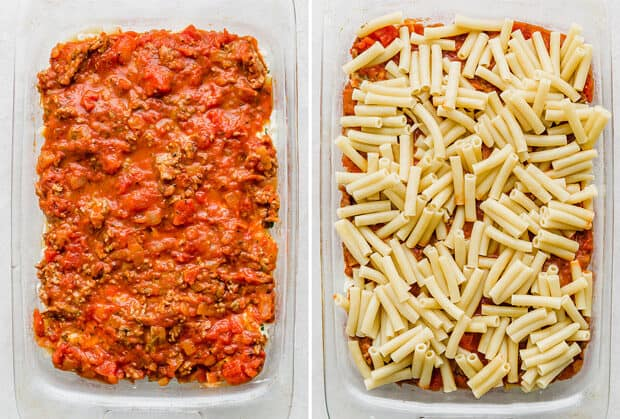 A casserole dish showing the layering of the baked ziti.