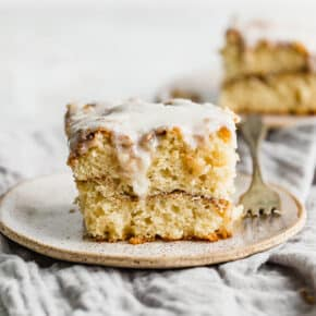 cinnamon roll cake on a plate.