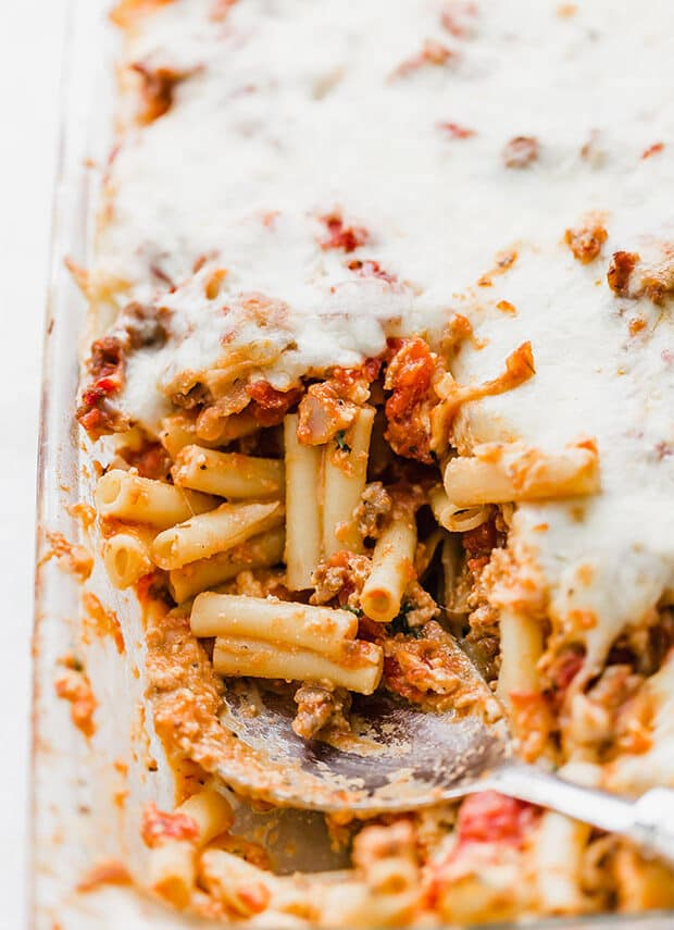 A casserole dish with easy baked ziti.
