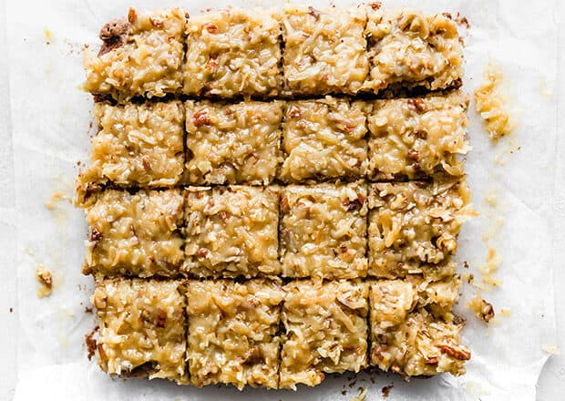 An overhead view of German Chocolate brownies cut into squares.