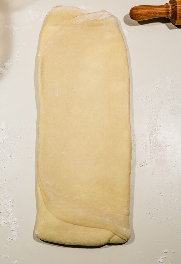 A long rectangle of brioche dough.