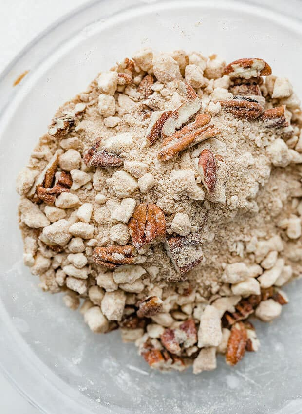 A close up photo of the pecan streusel topping for the overnight pumpkin French toast casserole.