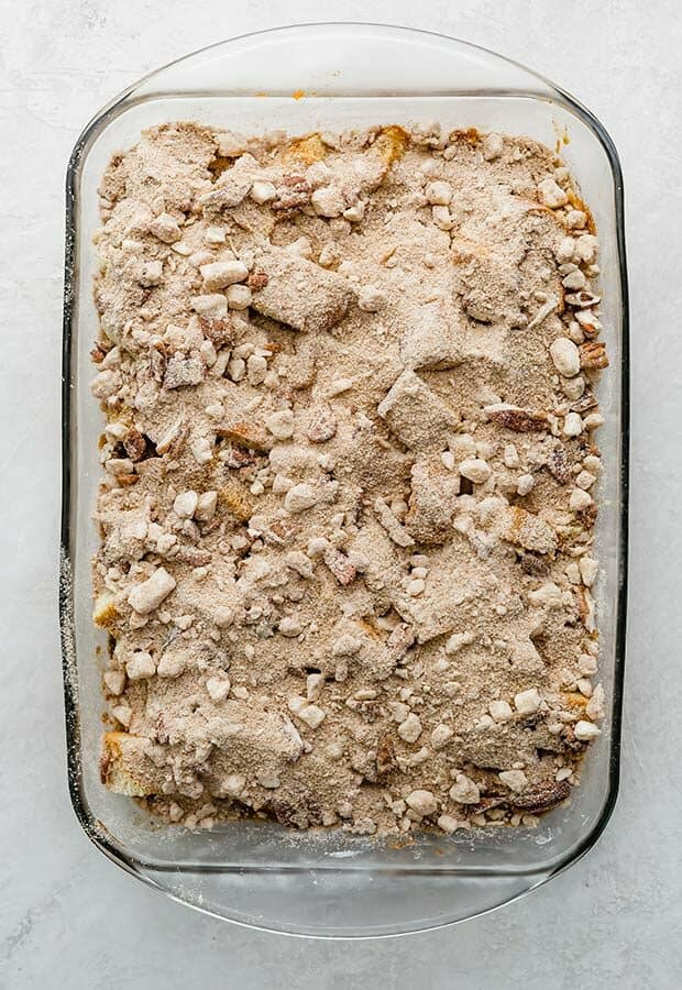 An overhead photo of an unbaked Overnight Pumpkin French Toast Casserole.