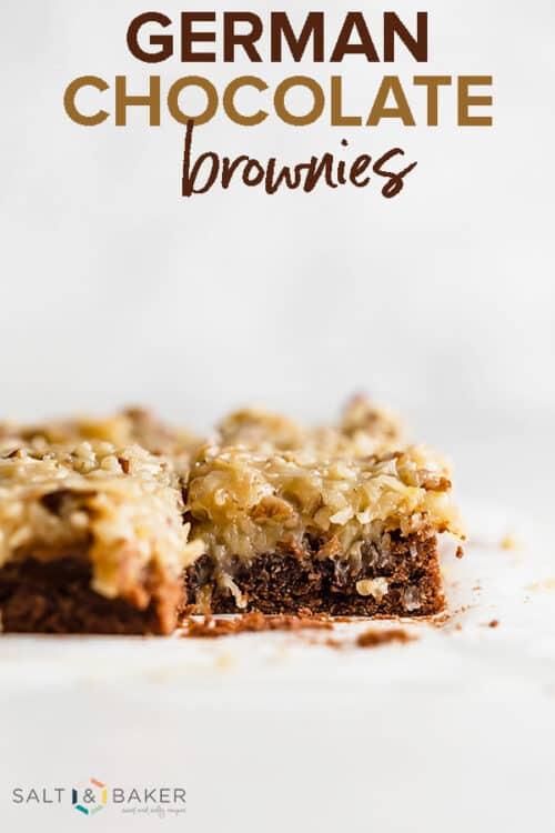 A slice of German Chocolate brownies.