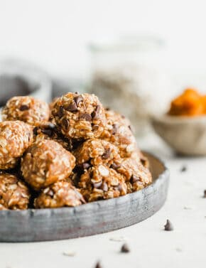 Pumpkin energy balls on a plate.