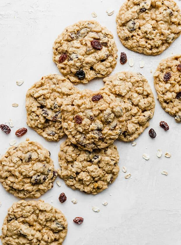 A row of oatmeal raisin cookies.