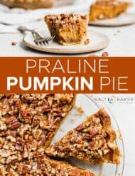 A praline pumpkin pie sliced and in a pie tin.