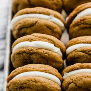 A row of gingerbread whoopie pies.