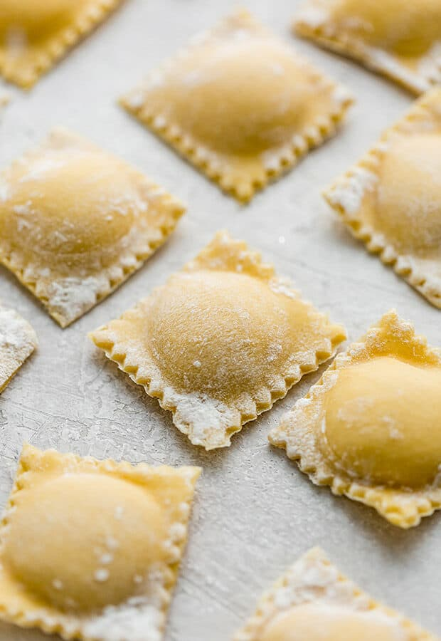 Homemade ravioli filled with butternut squash filling.