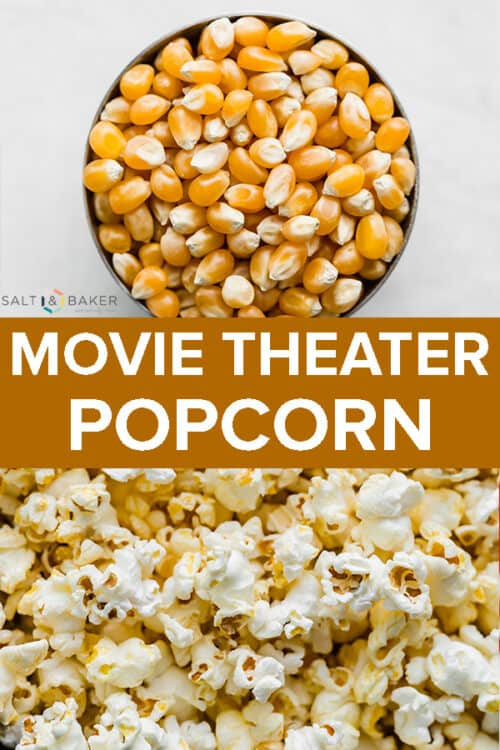 A photo of popcorn kernels and popped popcorn.