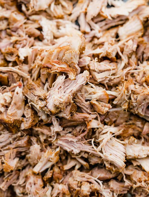 A close up photo of shredded pork.