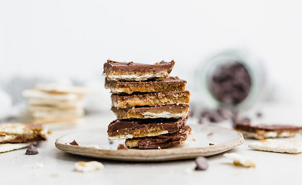 A stack of Christmas Crack on a plate.