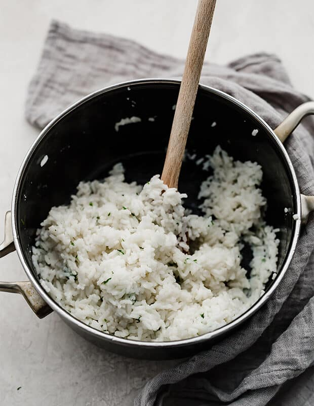 A saucepan full of Cilantro Lime Rice.