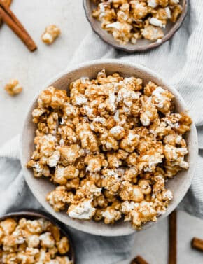 A large bowl full of Cinnamon Roll Popcorn.