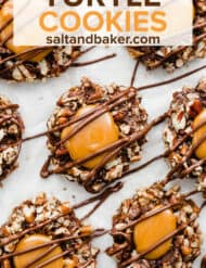 Overhead photo of caramel filled and chocolate drizzled turtle cookies.