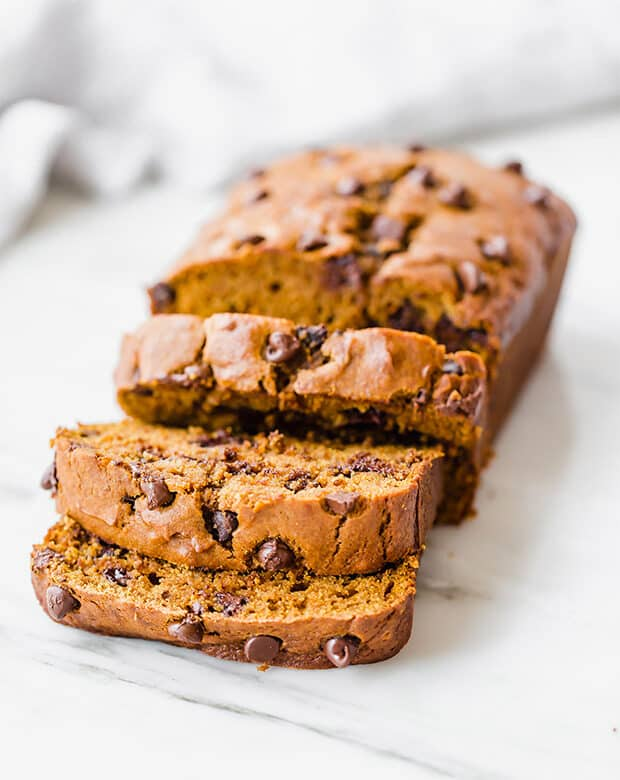 Sliced pumpkin chocolate chip bread.