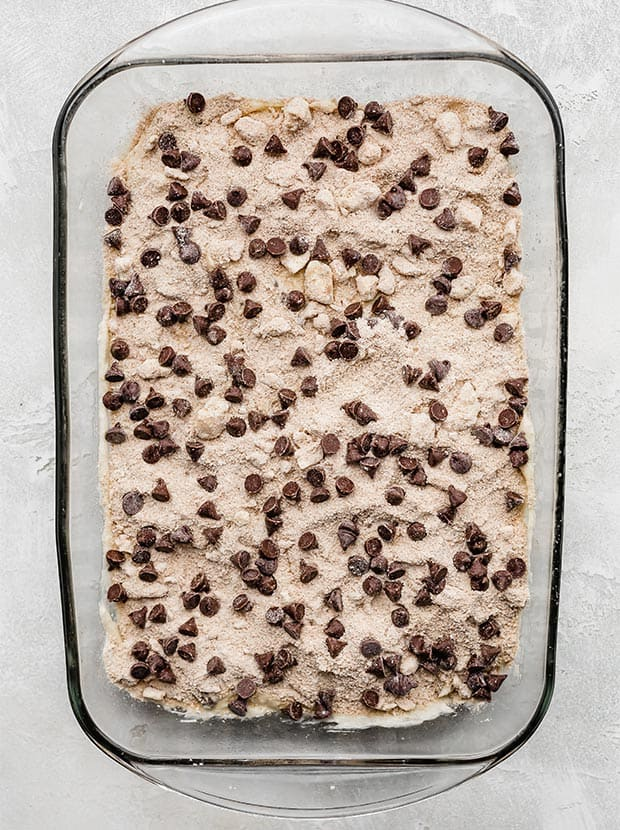 Chocolate Chip Coffee Cake in a pan, prior to baking.