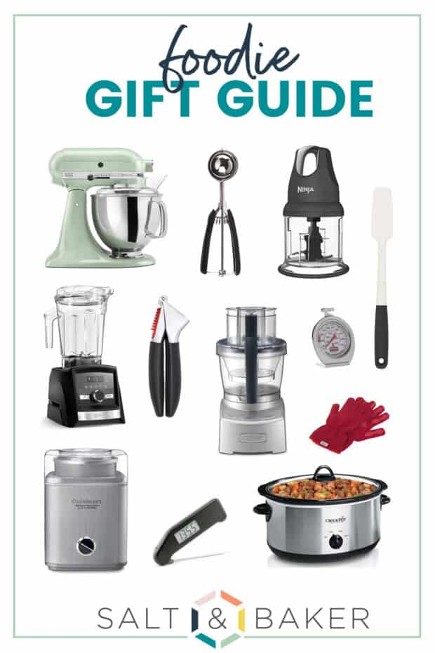 A collage featuring kitchen gadgets for a holiday gift guide.