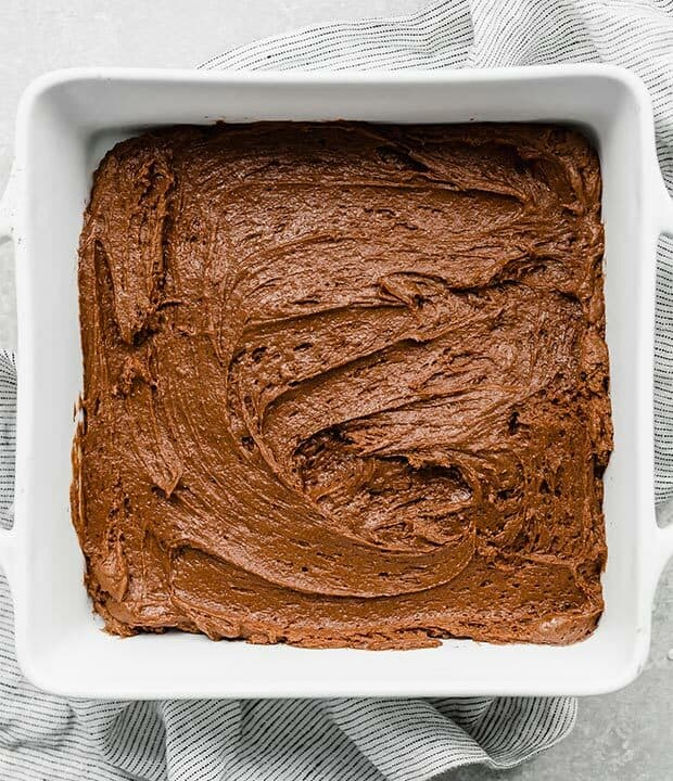 Hot Fudge Cake batter in a square pan.