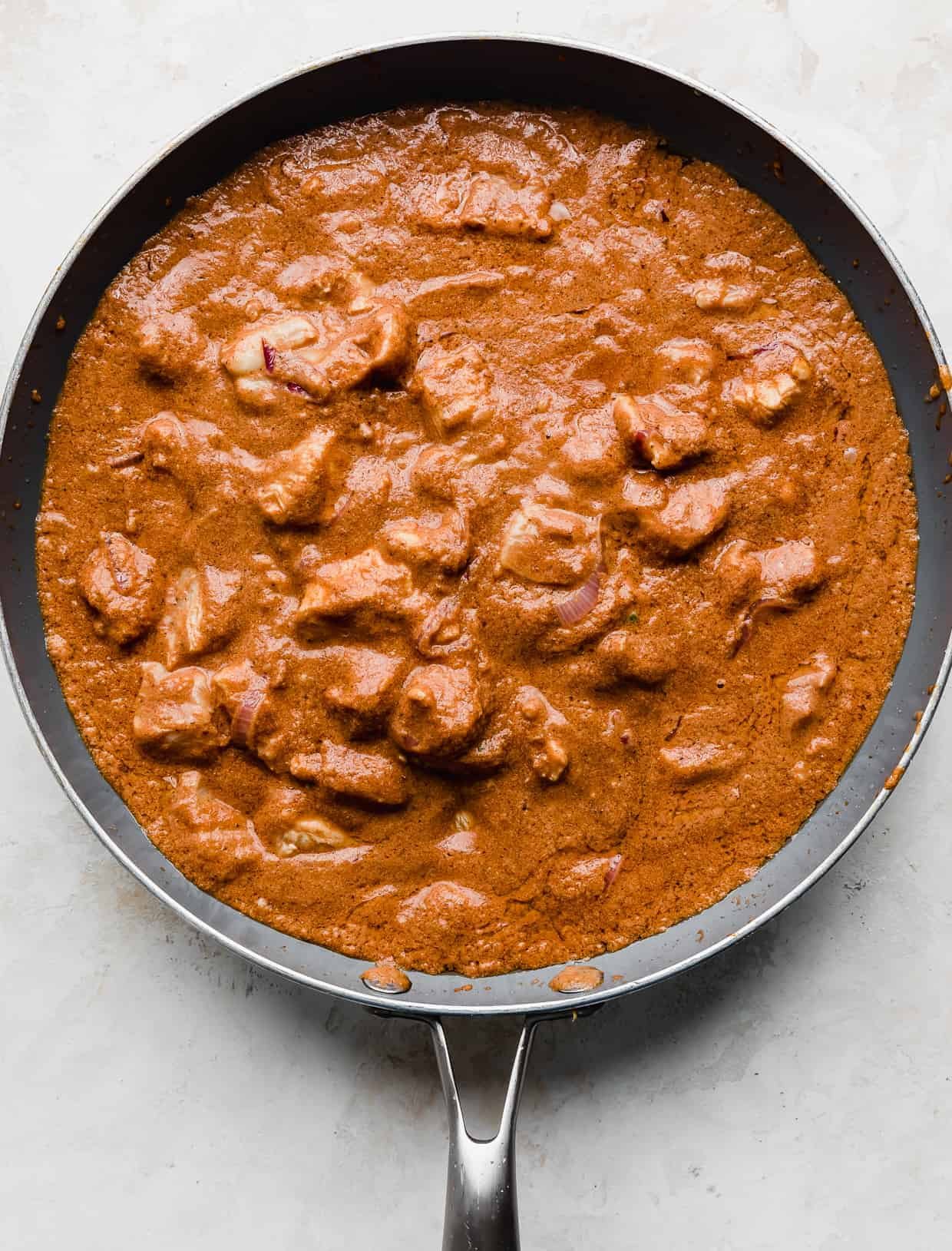 Indian Butter Chicken in a gray skillet.