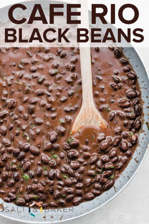 a large skillet full of Cafe Rio style black beans.