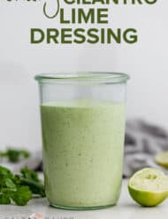 a jar of creamy cilantro lime dressing.