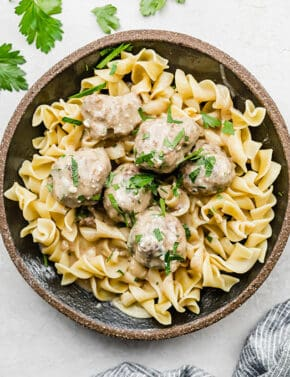 Swedish meatballs served over a bed of egg noodles.