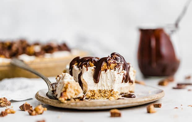 A slice of No-Bake Peanut Butter Pie on a plate.