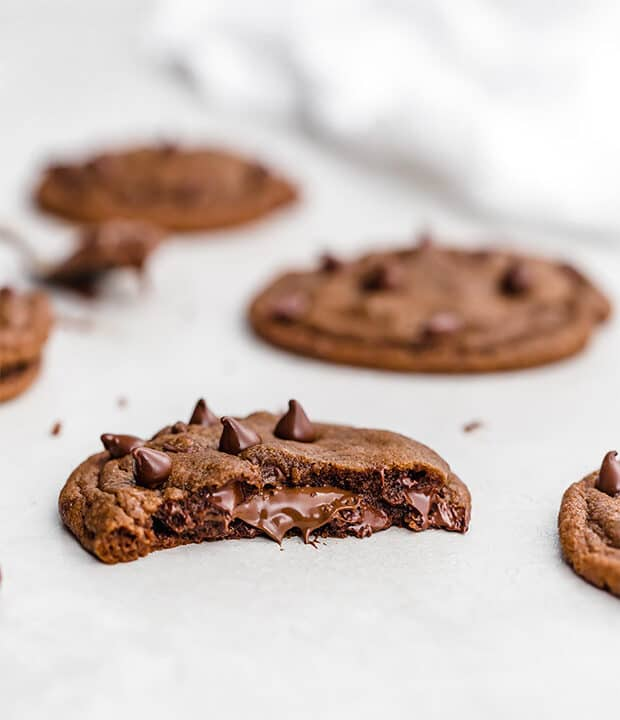 Nutella oozing from a Nutella Stuffed Nutella Cookie.