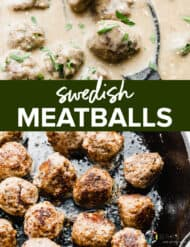 Swedish meatballs in a skillet.