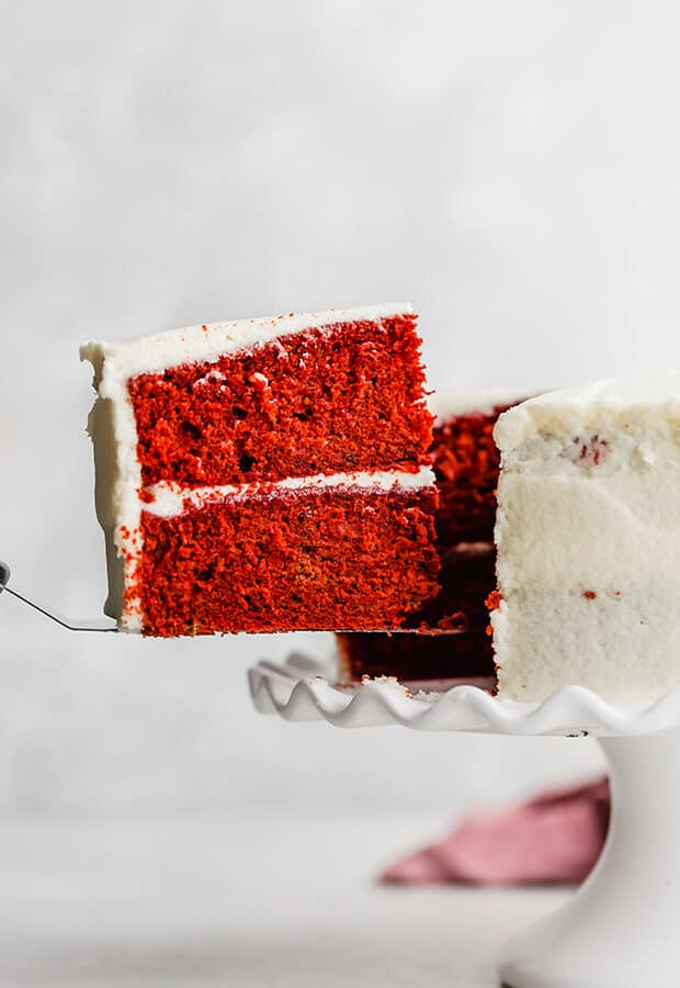 A slice of red velvet cake.