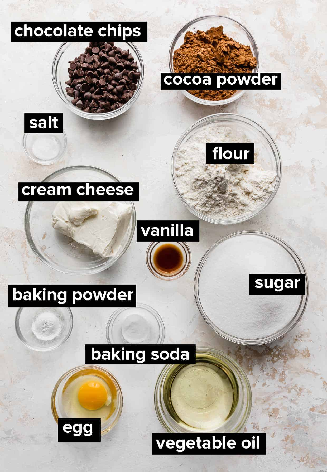 Ingredients used to make Double Chocolate Chip Cookies with cream cheese.