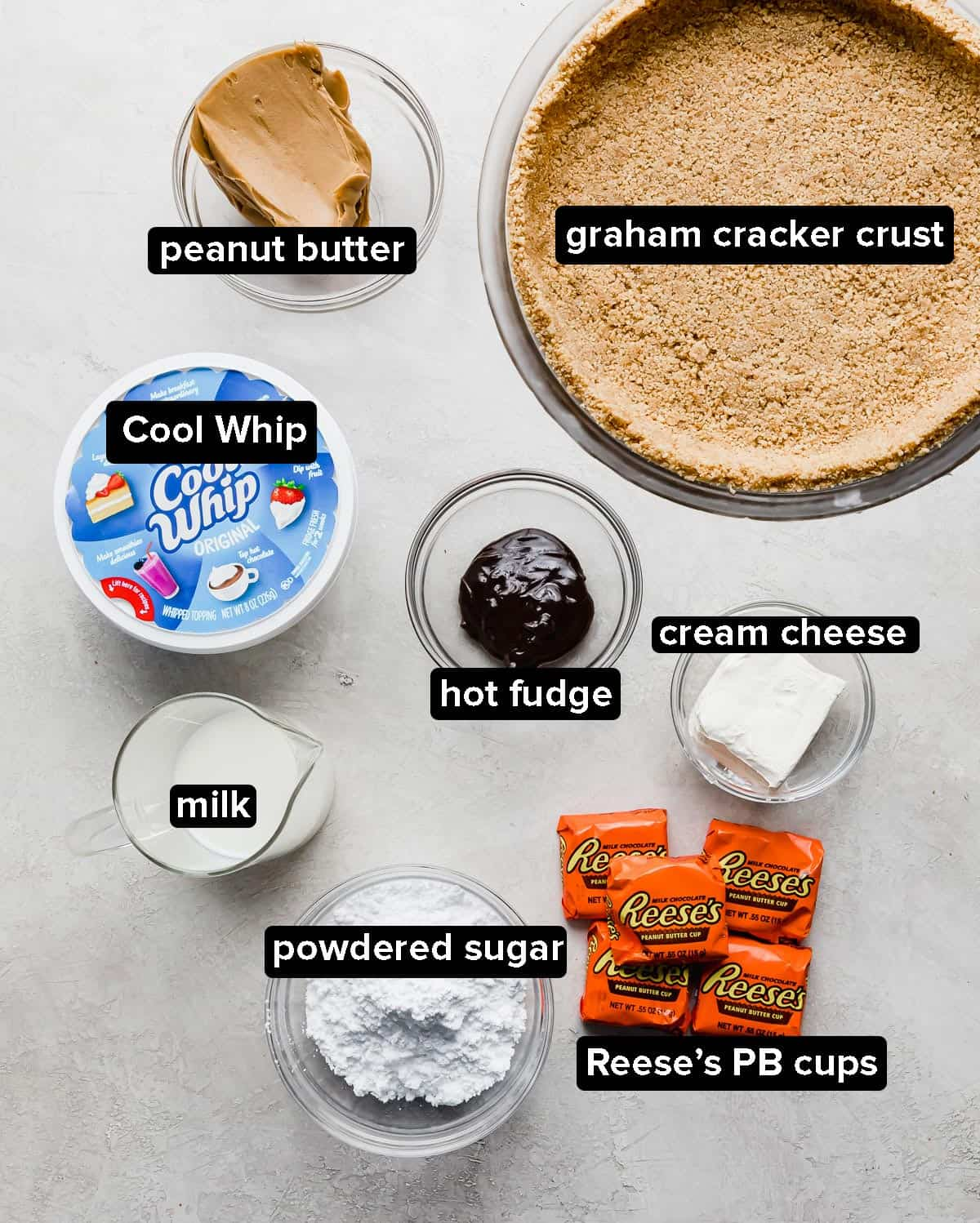 No-Bake Peanut Butter Pie ingredients on a light gray background.