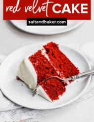 A slice of red velvet cake on a plate.