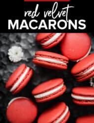 Red Velvet Macarons against a dark metal background.