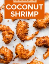 Coconut shrimp on a white background