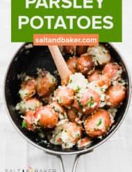 A pot full of parsley potatoes.