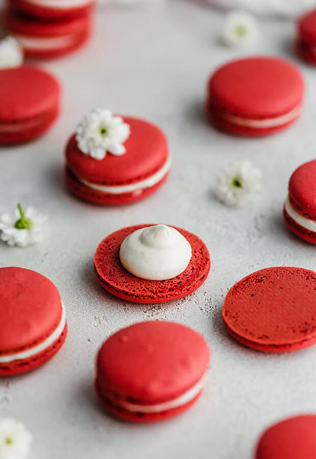 A Red Velvet Macaron with a dollop of cream cheese frosting on a macaron cookie.