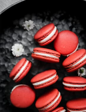 Red Velvet Macarons against a metal background.