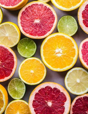 Colorful citrus, green, pink, orange, yellow.