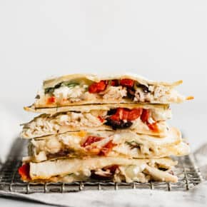 A stack of greek quesadillas.