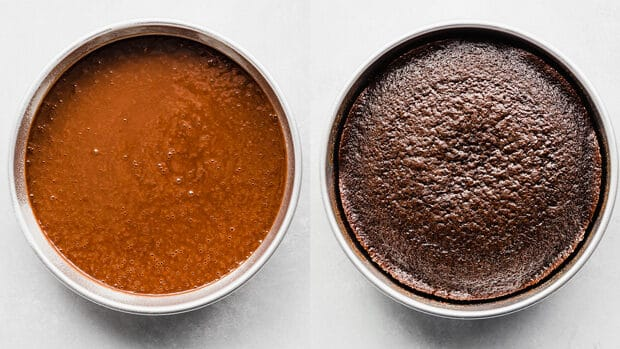 Two side by side photos of chocolate cake in a round cake pan.