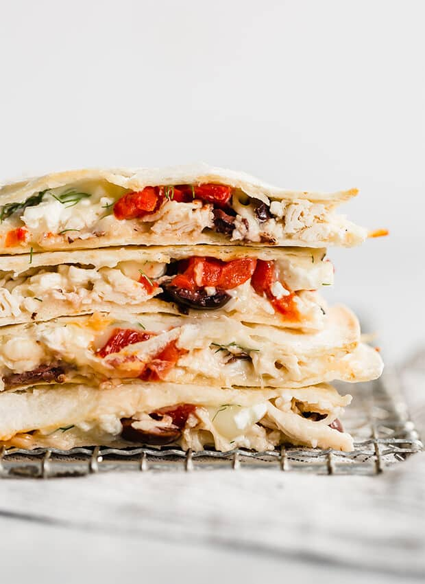 Close up image of Greek Quesadillas.