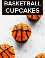 Basketball decorated cupcakes.